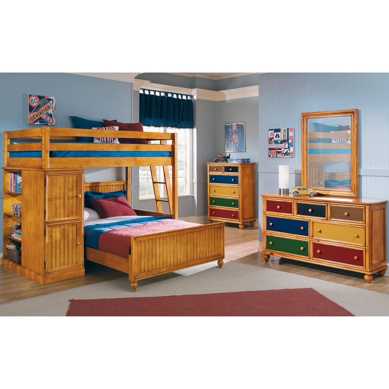 Colorworks pine ii kids furniture loft bed with full bed - Childrens pine bedroom furniture ...