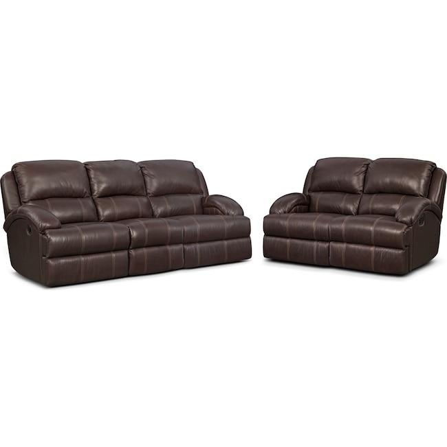 Living Room Furniture - Nolan Dual Reclining Sofa and Reclining Loveseat Set - Chocolate