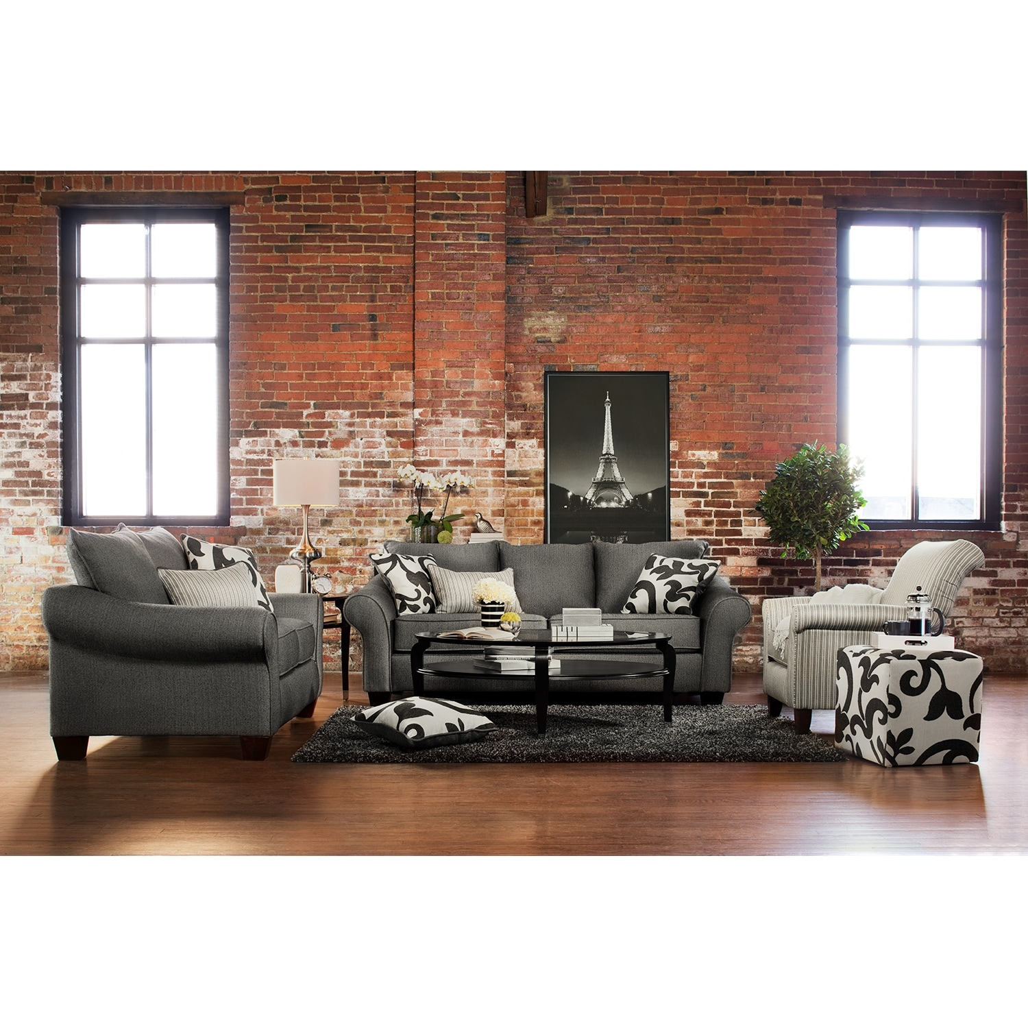Colette Sofa and Loveseat Set Gray