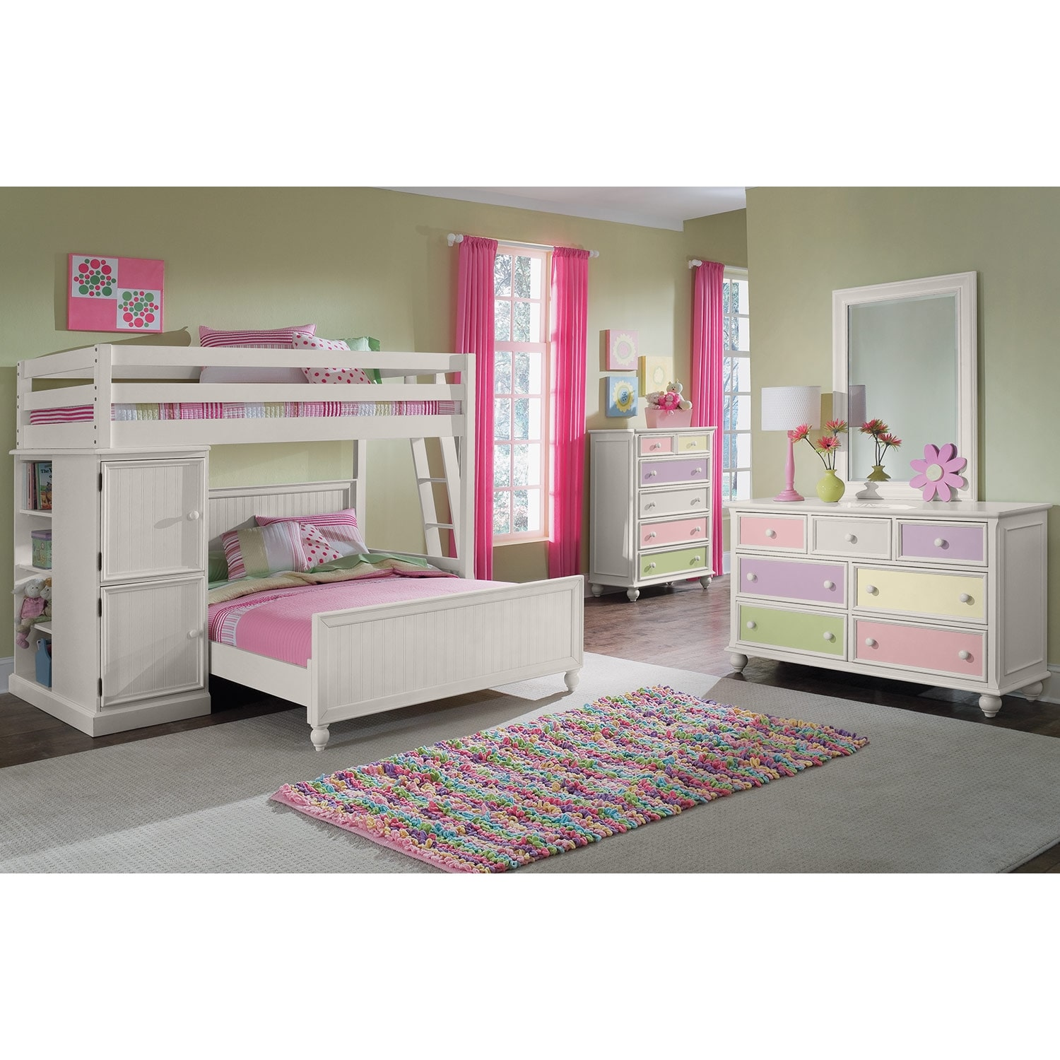 Colorworks Loft Bed with Full Bed - White | Value City ...