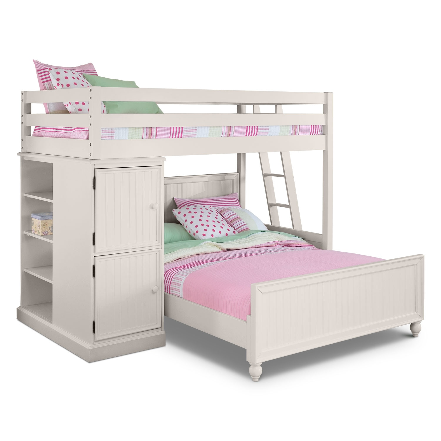 colorworks loft bed with full bed - white | value city furniture