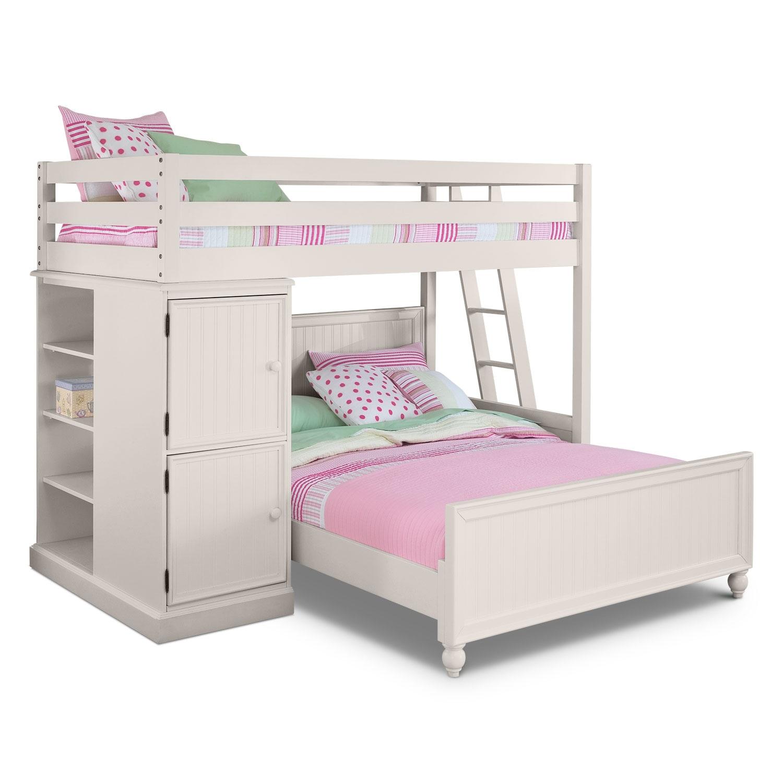 colorworks loft bed with full bed white value city furniture. Black Bedroom Furniture Sets. Home Design Ideas