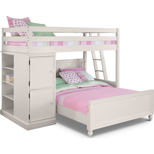Kids Furniture - Colorworks Loft Bed with Full Bed - White