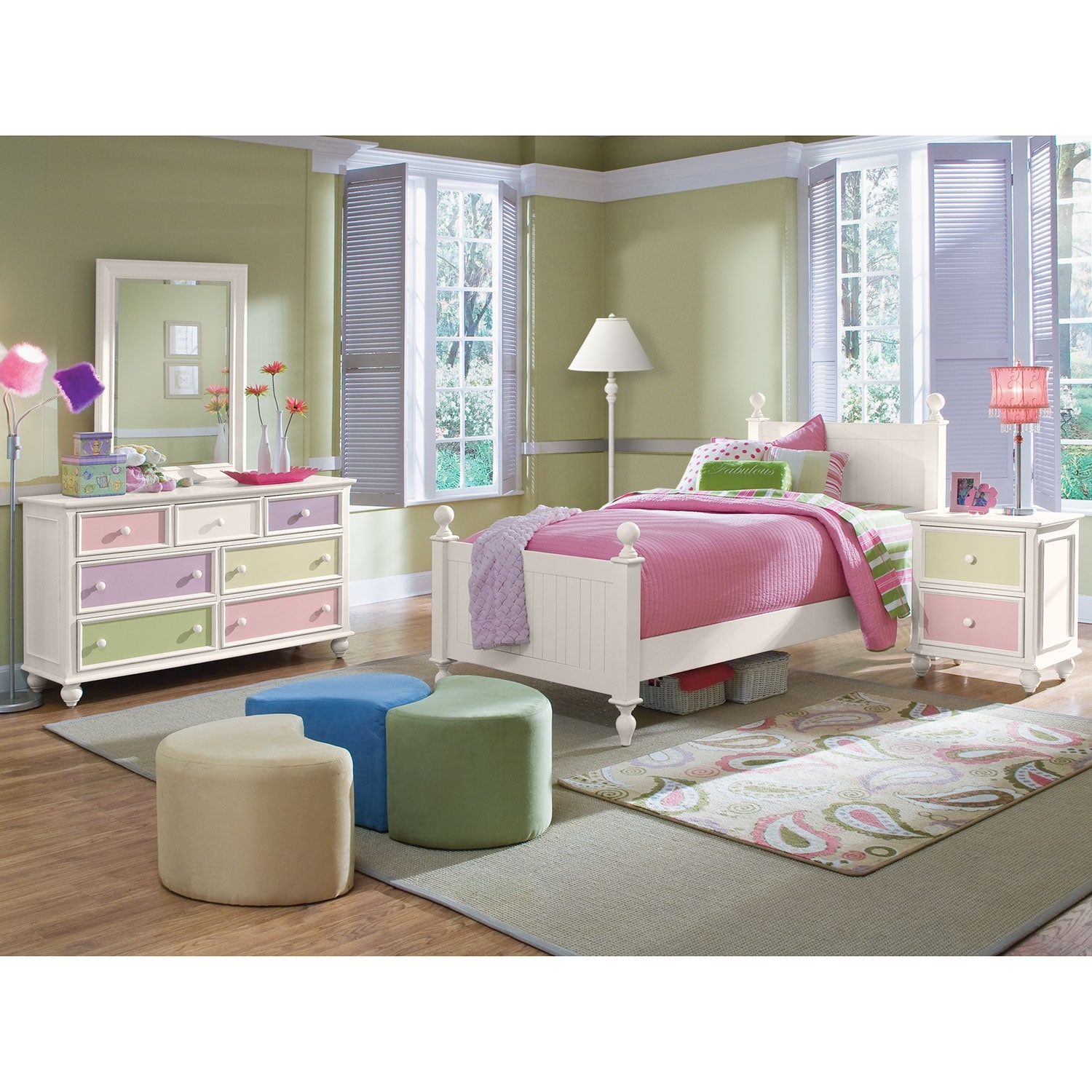 Kids Furniture Colorworks 6 Piece Twin Bedroom Set White