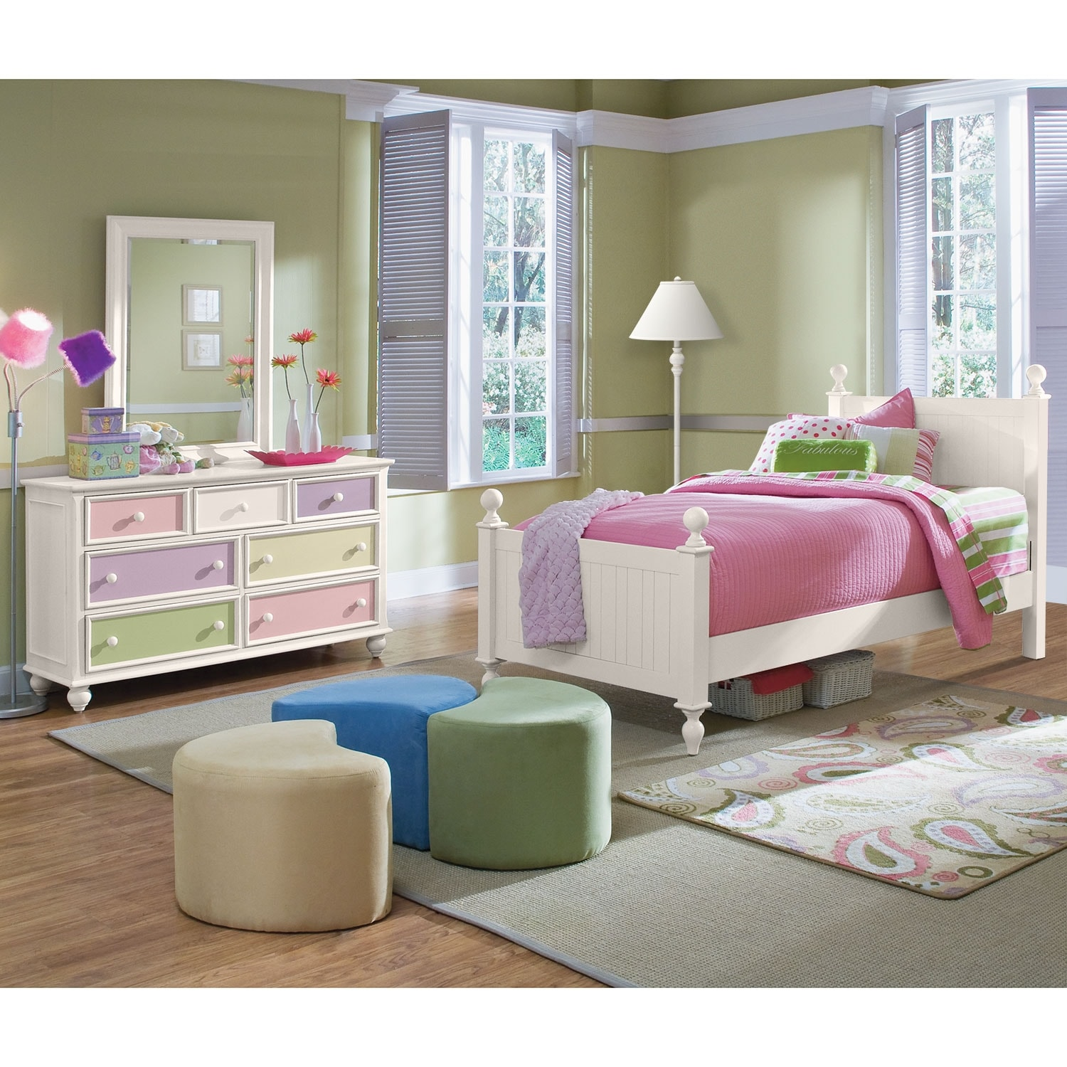 Colorworks 5 piece twin bedroom set white value city - Value city furniture bedroom sets ...