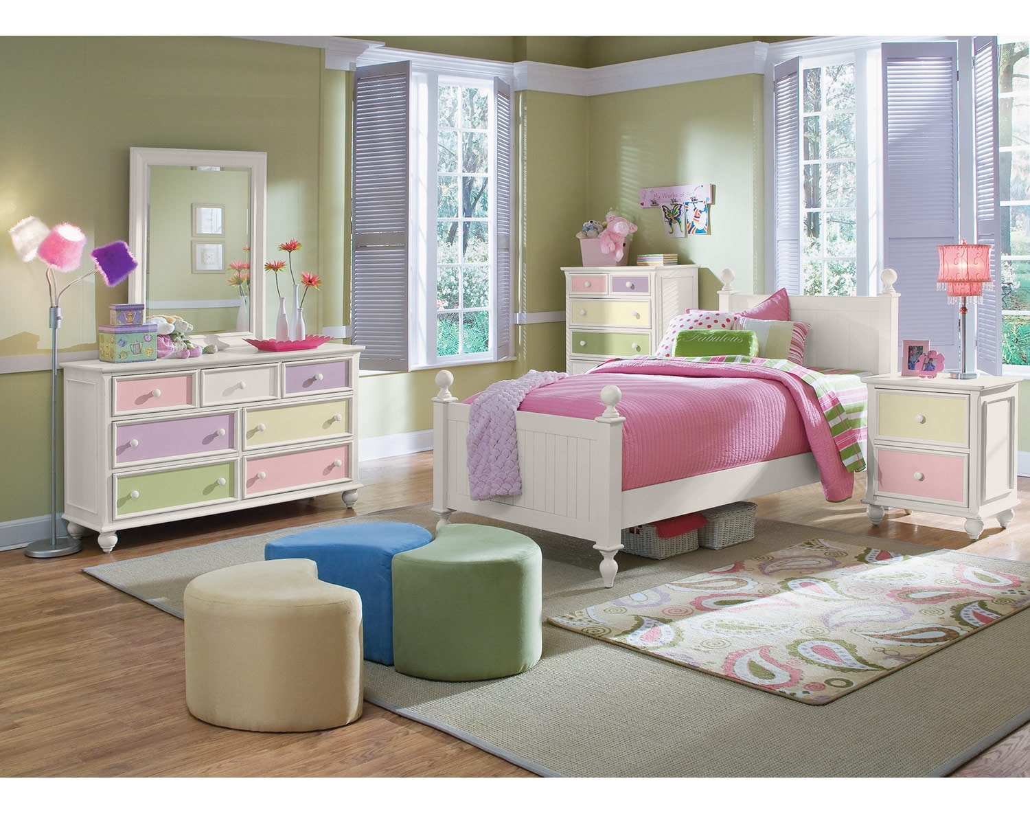 [The Colorworks Panel Bedroom Collection- White]