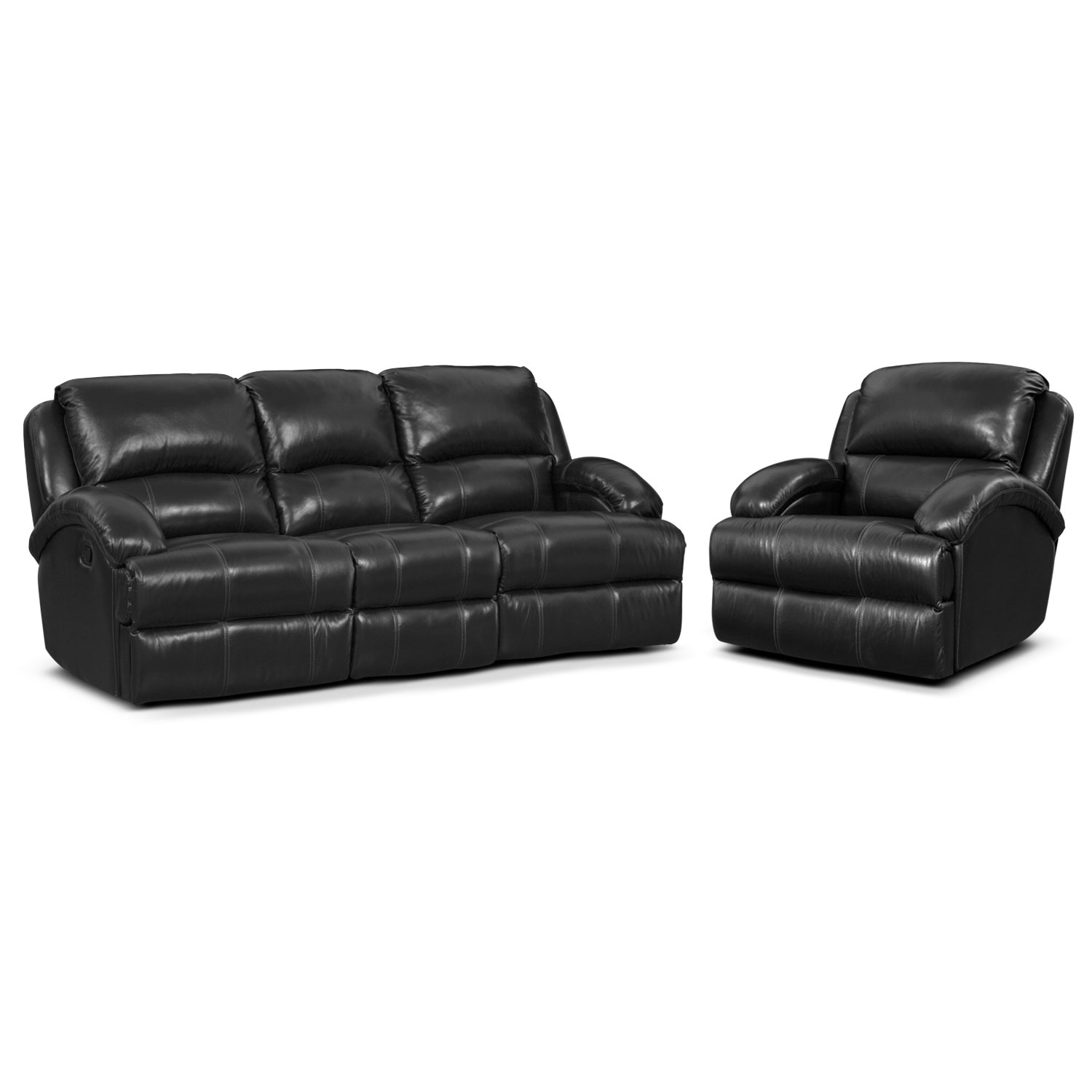 Nolan Dual Reclining Sofa and Glider Recliner Set - Black