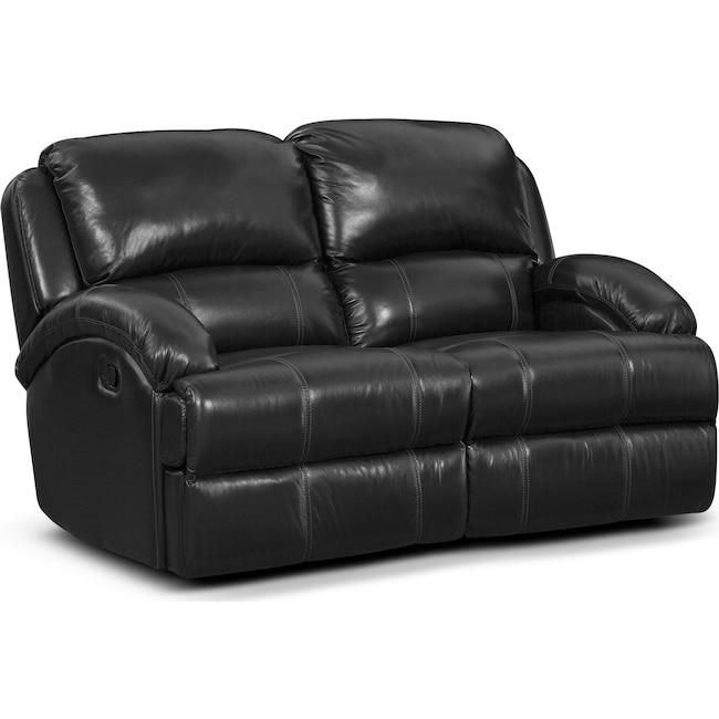 Living Room Furniture - Nolan Dual Reclining Loveseat - Black