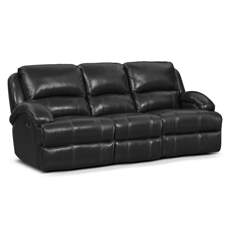 Living Room Furniture - Nolan Dual Reclining Sofa - Black