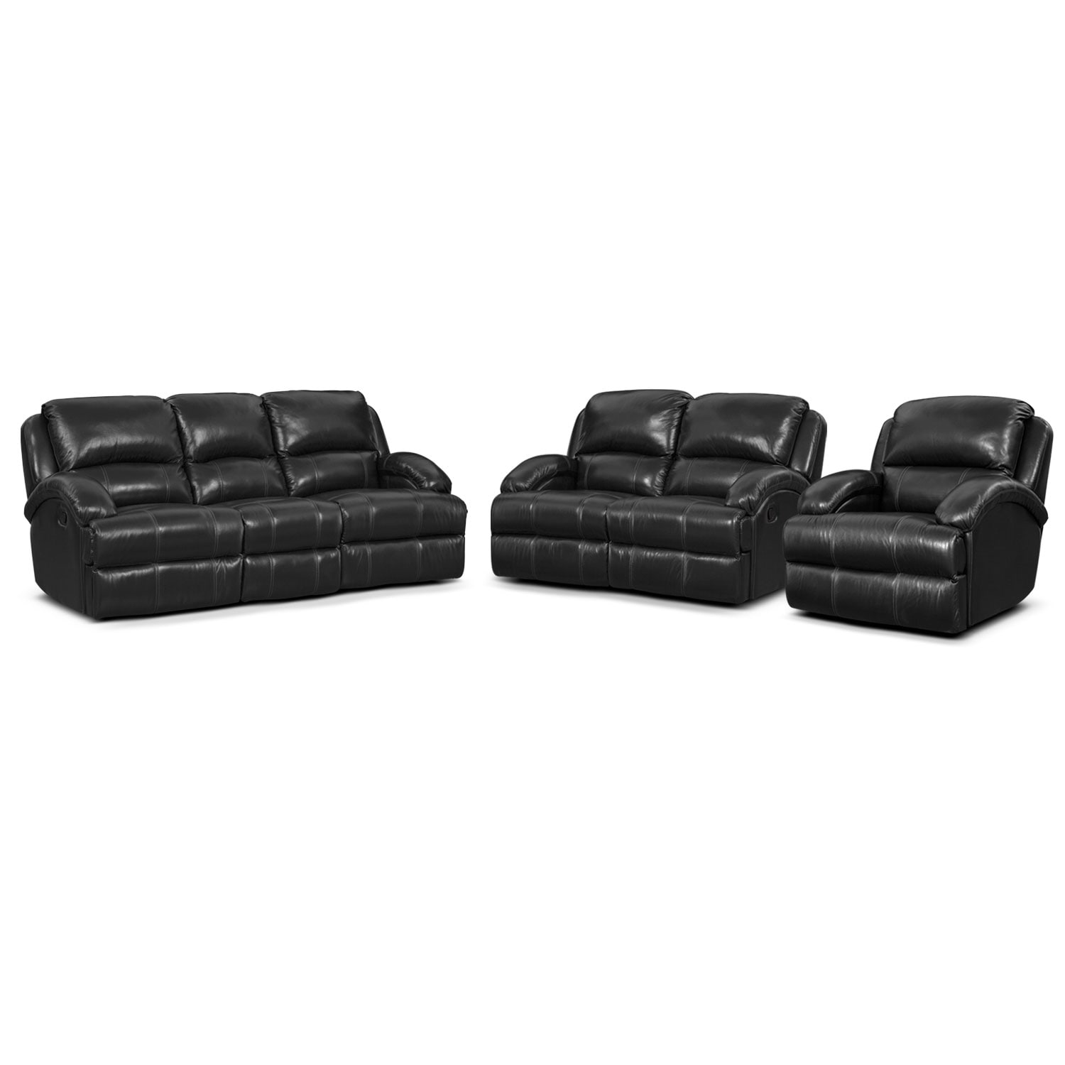 Living Room Furniture - Nolan Dual Reclining Sofa, Reclining Loveseat and Glider Recliner Set - Black