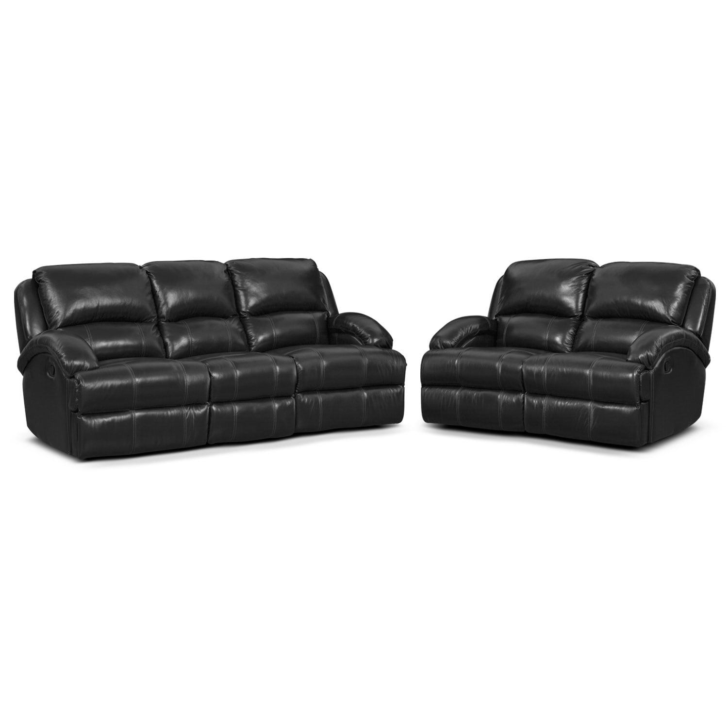 Living Room Furniture - Nolan Dual Reclining Sofa and Reclining Loveseat Set - Black