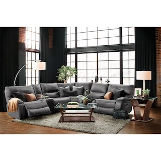 Orlando 6-Piece Power Reclining Sectional with 3 Reclining Seats - Gray
