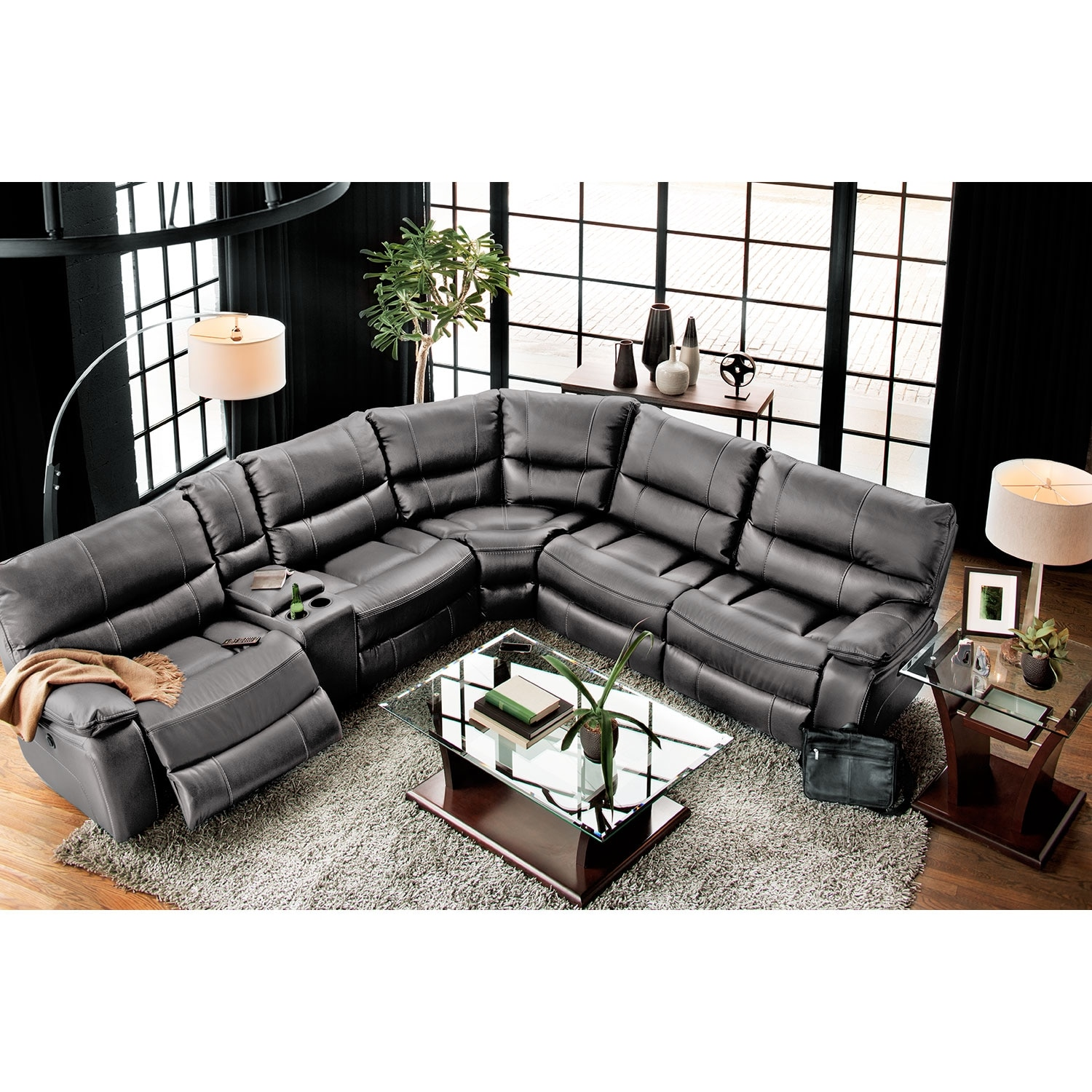 Orlando 6 Piece Power Reclining Sectional W 1 Stationary Chair Gray Value City Furniture