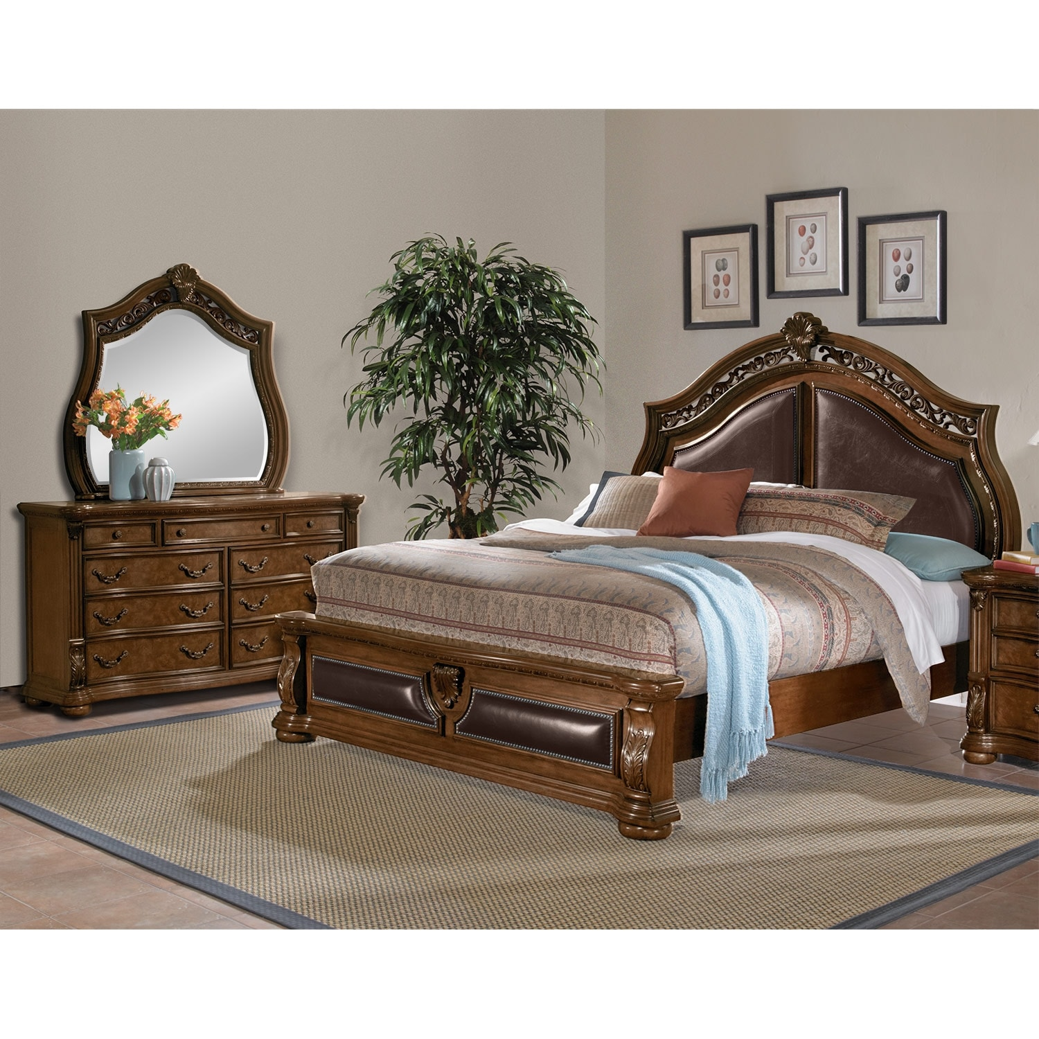 Bedroom Furniture   Morocco 5 Piece Queen Upholstered Bedroom Set   Pecan
