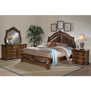 Morocco 6-Piece King Upholstered Bedroom Set - Pecan