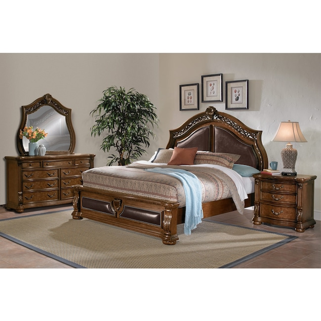 Morocco 6-Piece Queen Upholstered Bedroom Set - Pecan | Value City ...