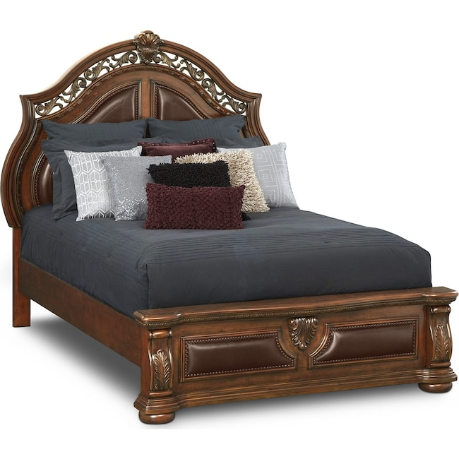 Bedroom Furniture - Morocco Queen Upholstered Bed - Pecan