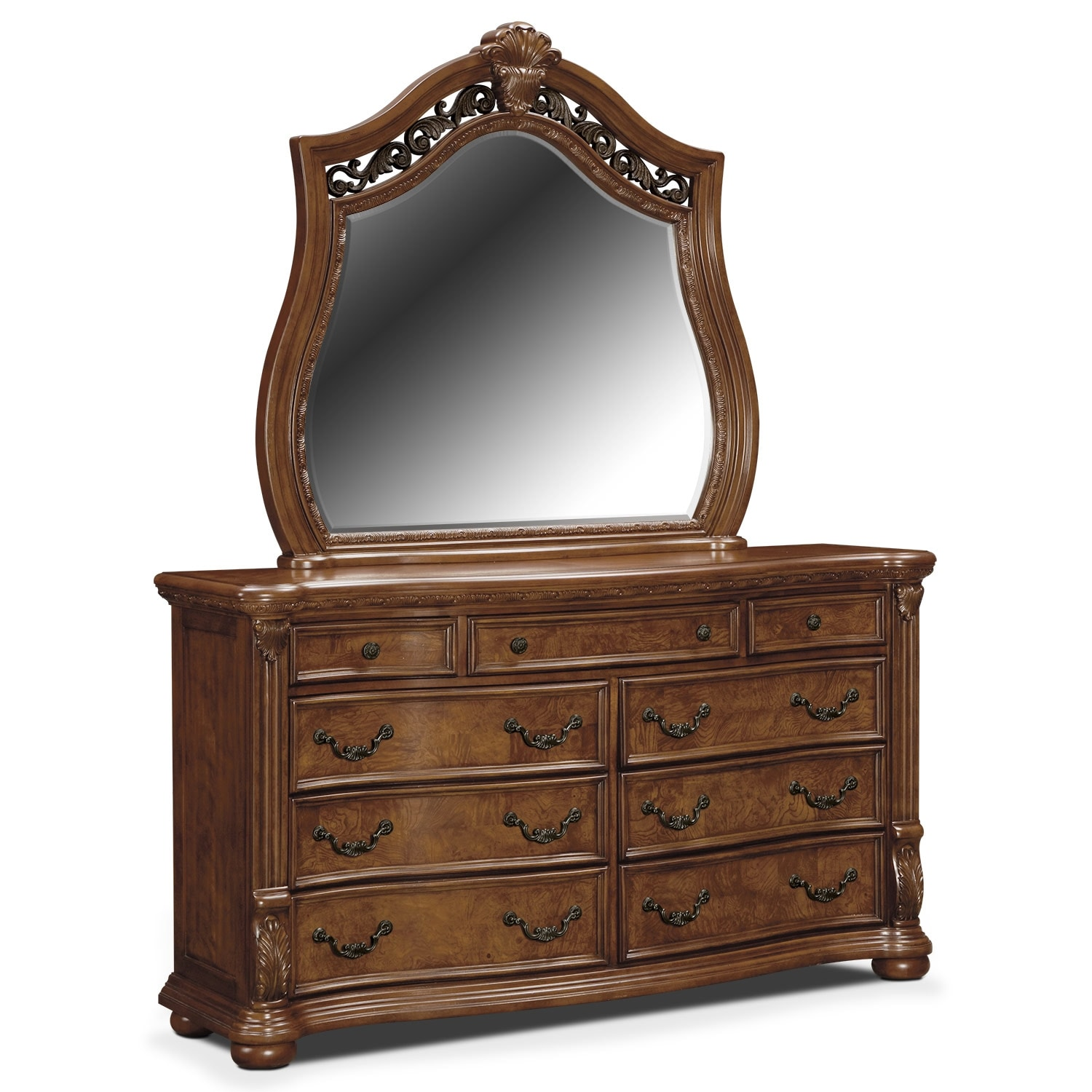 Morocco Dresser and Mirror - Pecan