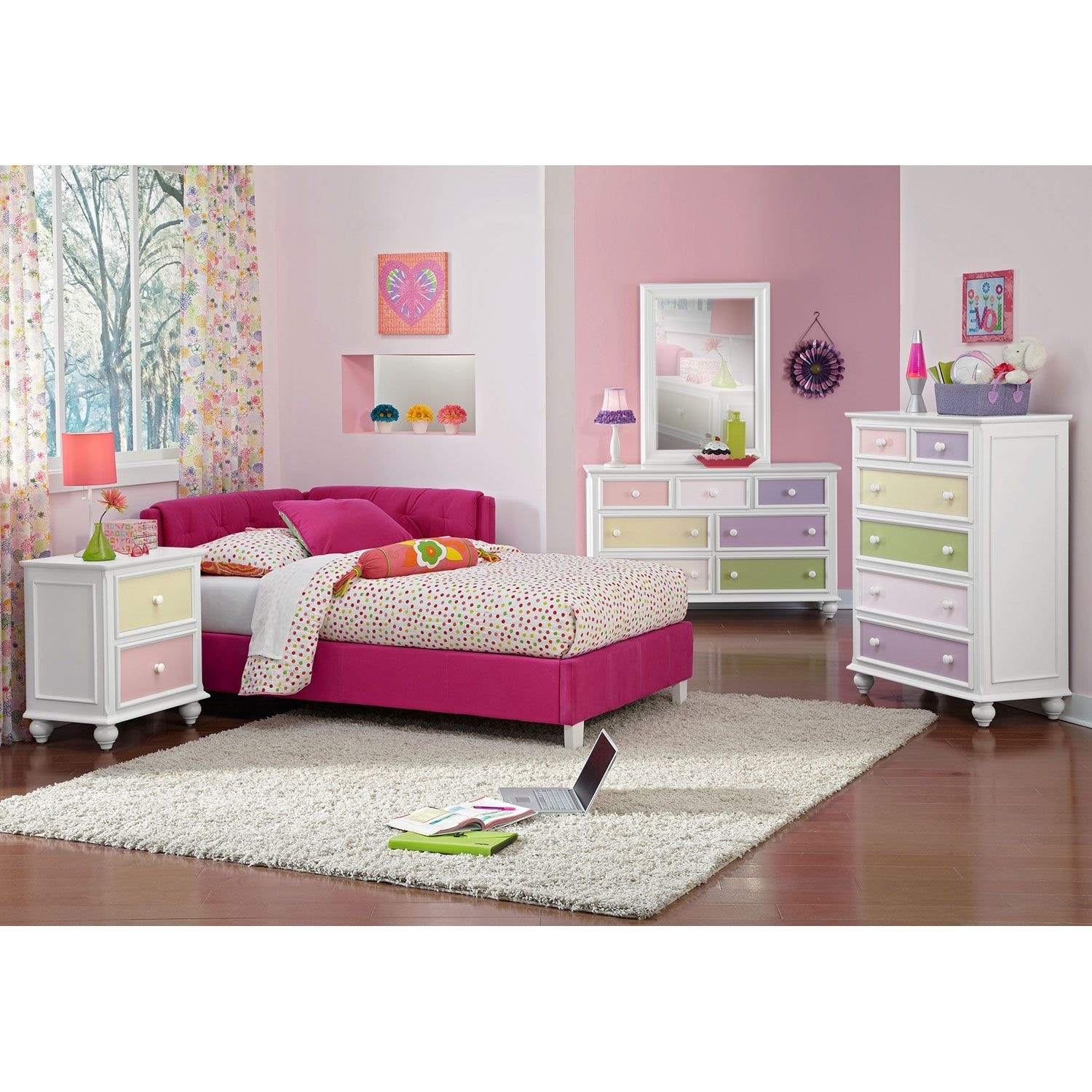 Jordan Twin Corner Bed - Pink | Value City Furniture and ...