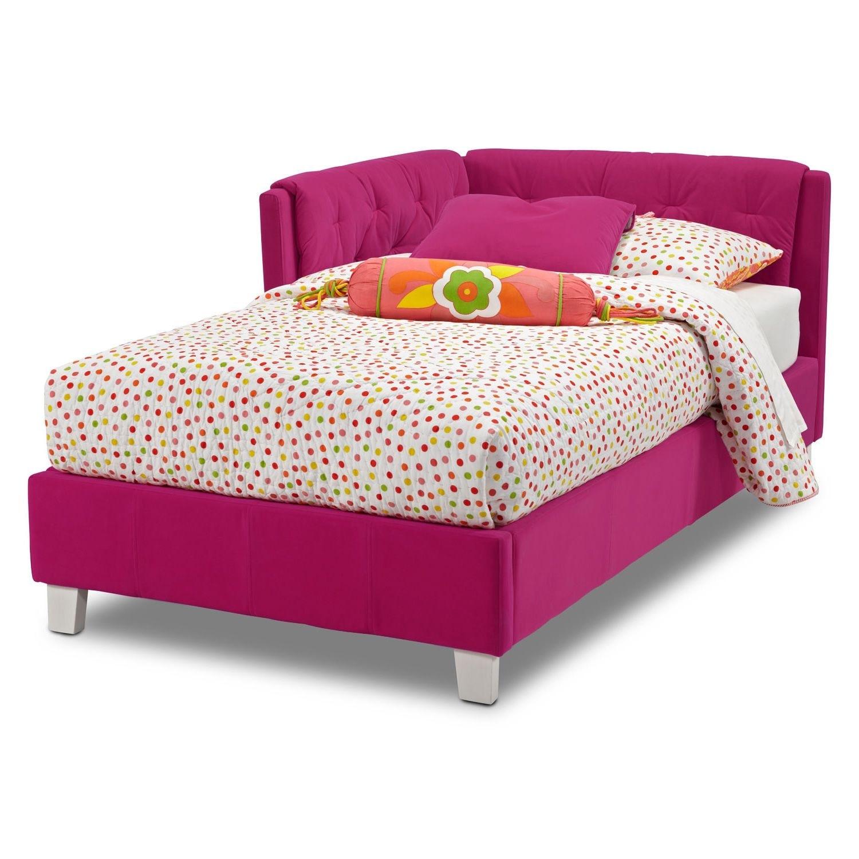 jordan twin corner bed pink value city furniture. Black Bedroom Furniture Sets. Home Design Ideas