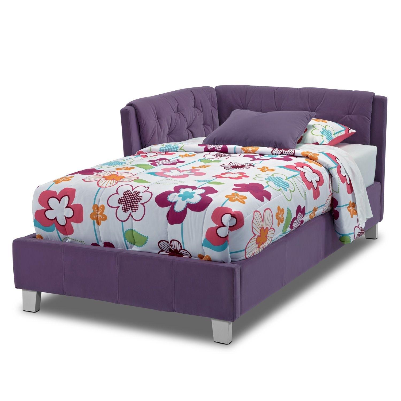 Jordan twin corner bed purple value city furniture for Jordans furniture bedroom sets