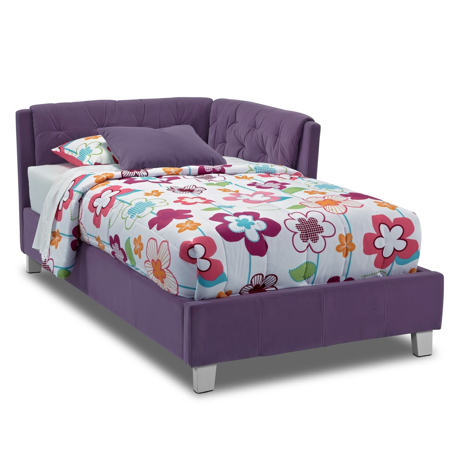 Kids Furniture - Jordan Twin Corner Bed - Purple
