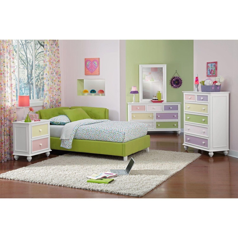 Jordan twin corner bed green value city furniture for Jordans furniture bedroom sets