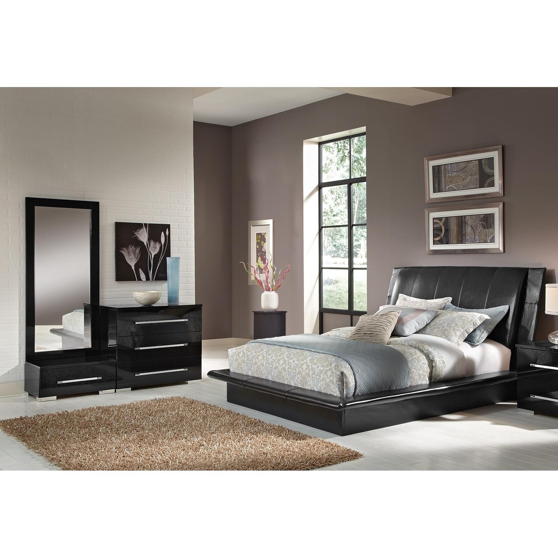 Bedroom Furniture - Dimora 5-Piece Queen Upholstered Bedroom Set - Black