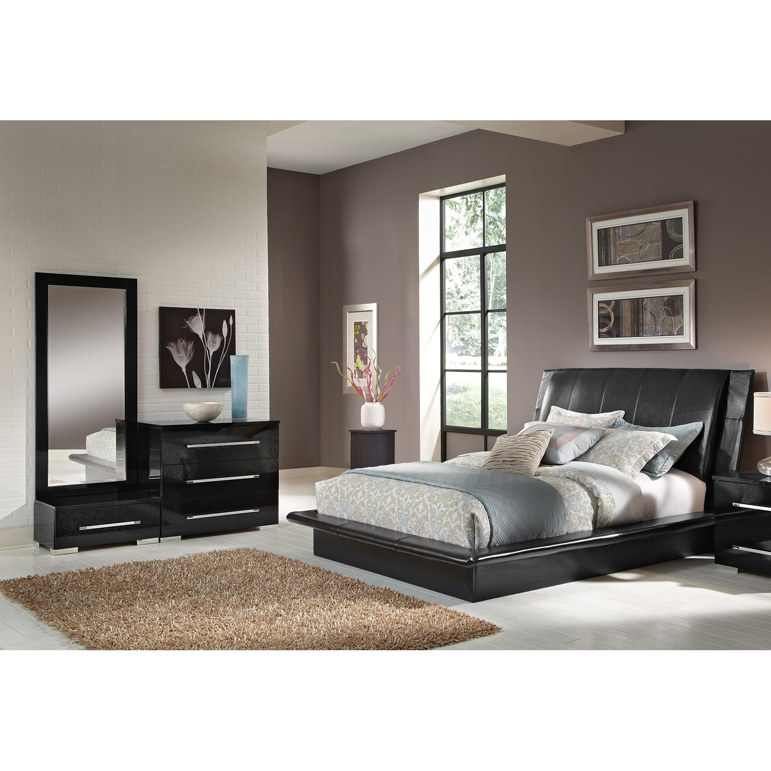 Bedroom Furniture - Dimora 5-Piece King Upholstered Bedroom Set - Black