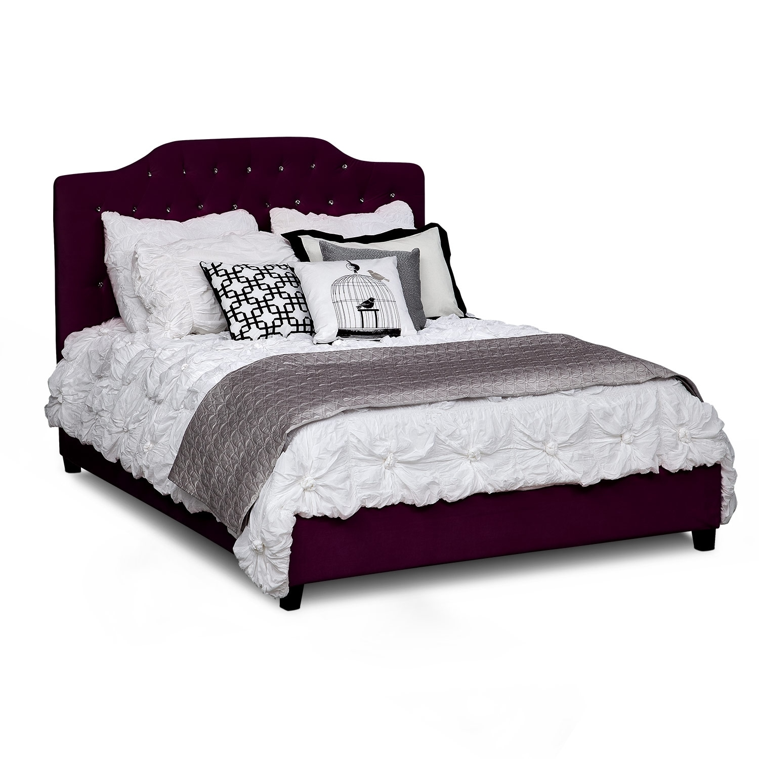 Bedroom Furniture - Valerie Queen Bed - Purple