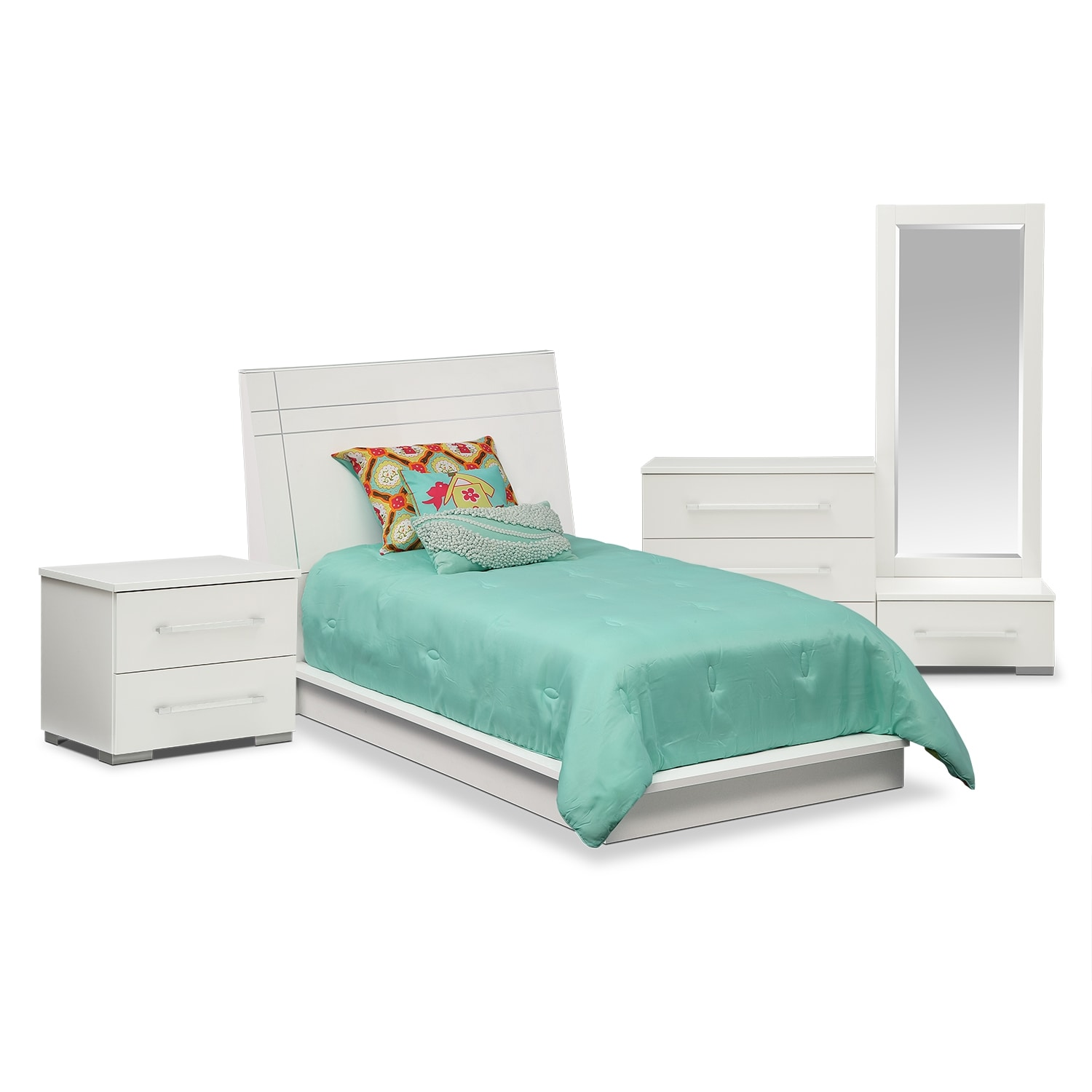 Dimora 6-Piece Twin Panel Bedroom Set - White
