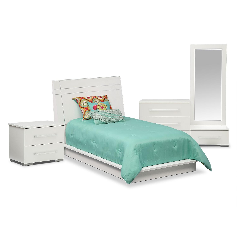 Bedroom Furniture - Dimora 6-Piece Twin Panel Bedroom Set - White