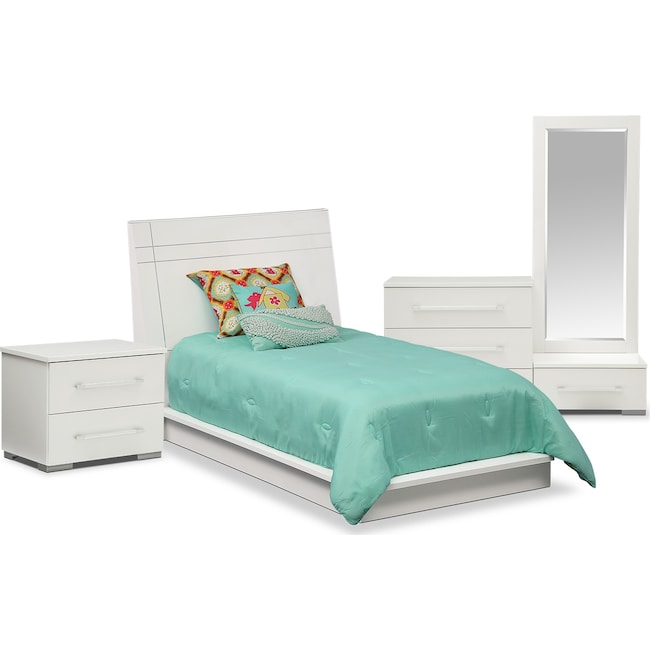 Bedroom Furniture - Dimora 6-Piece Twin Panel Bedroom Set - White