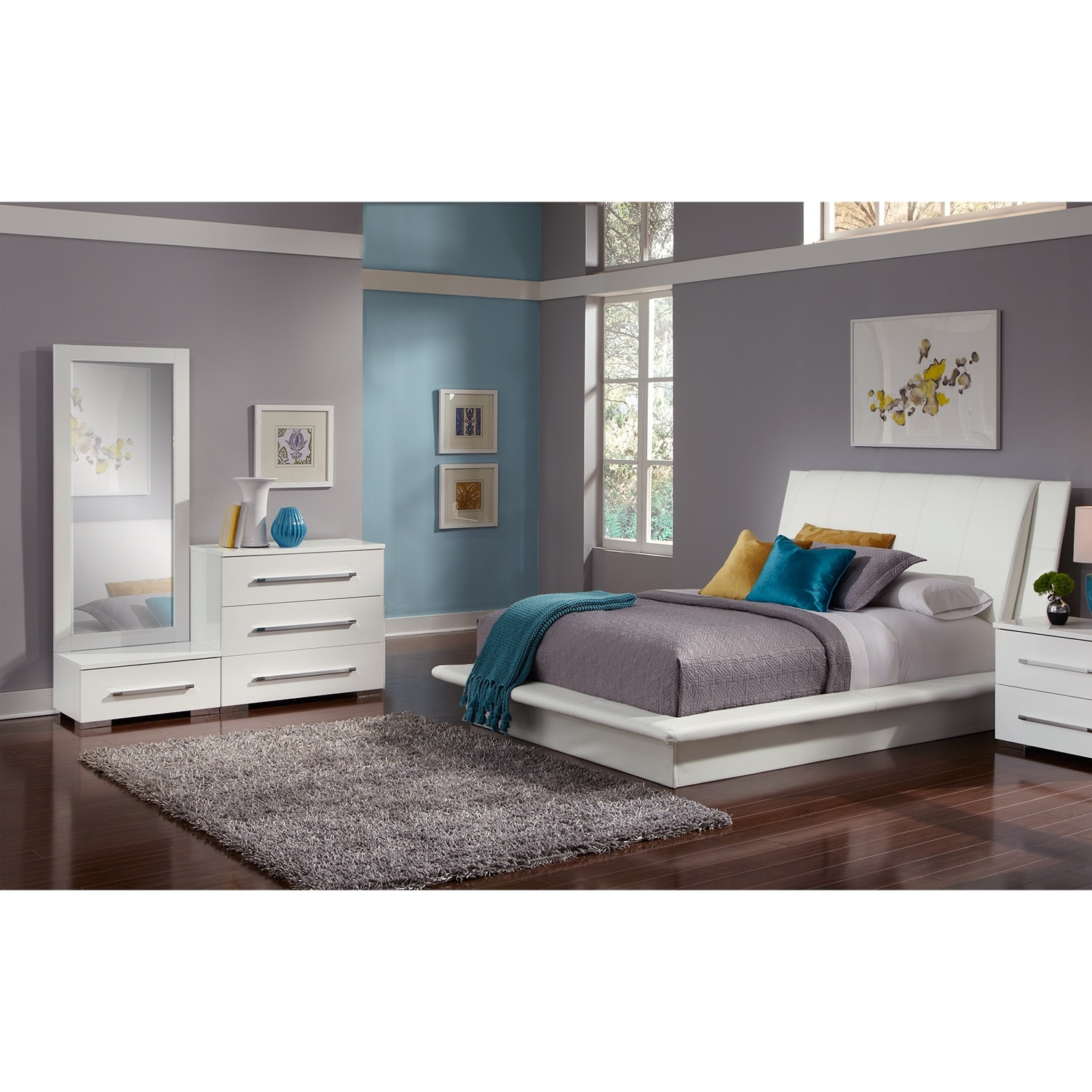 Bedroom Furniture - Dimora 5-Piece Queen Upholstered Bedroom Set - White