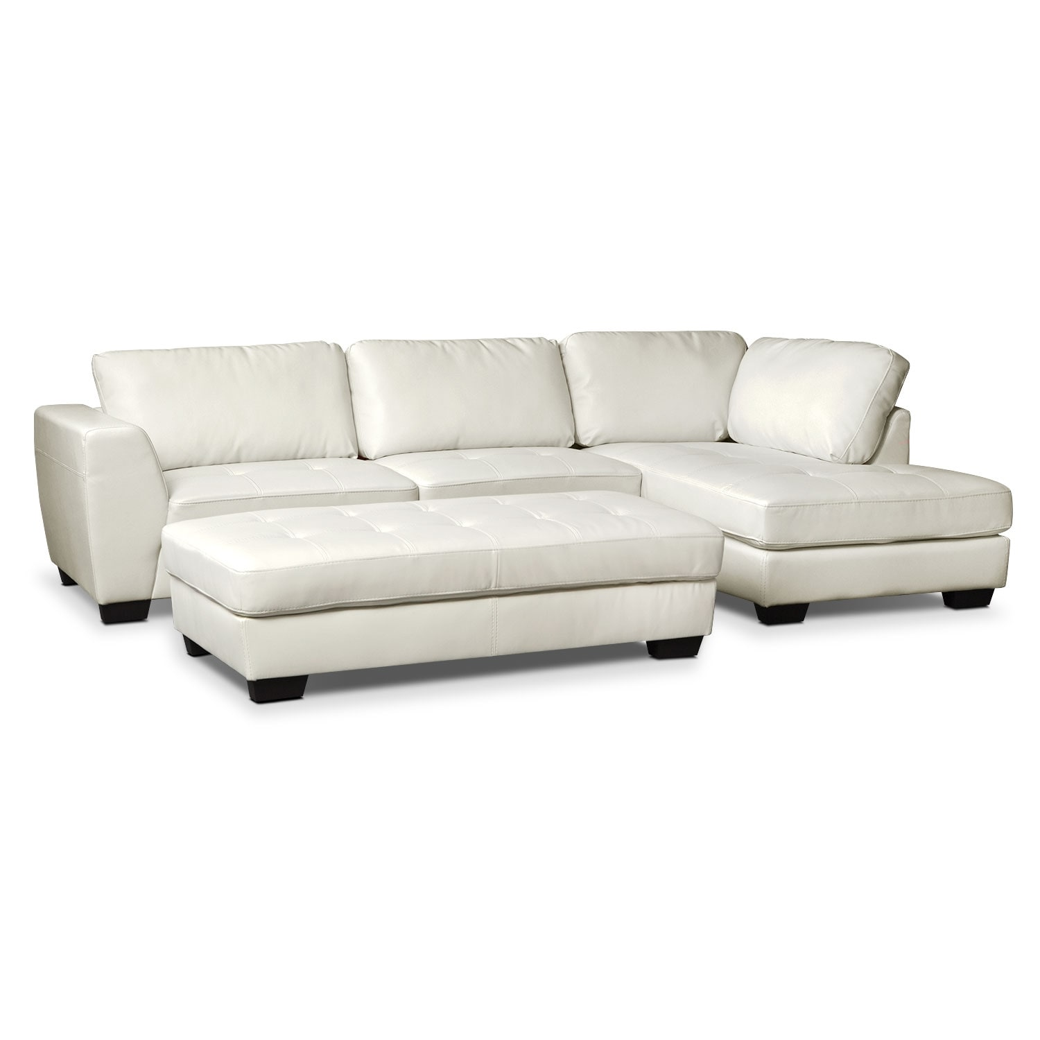 Ciera White 2-Piece Right-Facing Sectional and Cocktail Ottoman