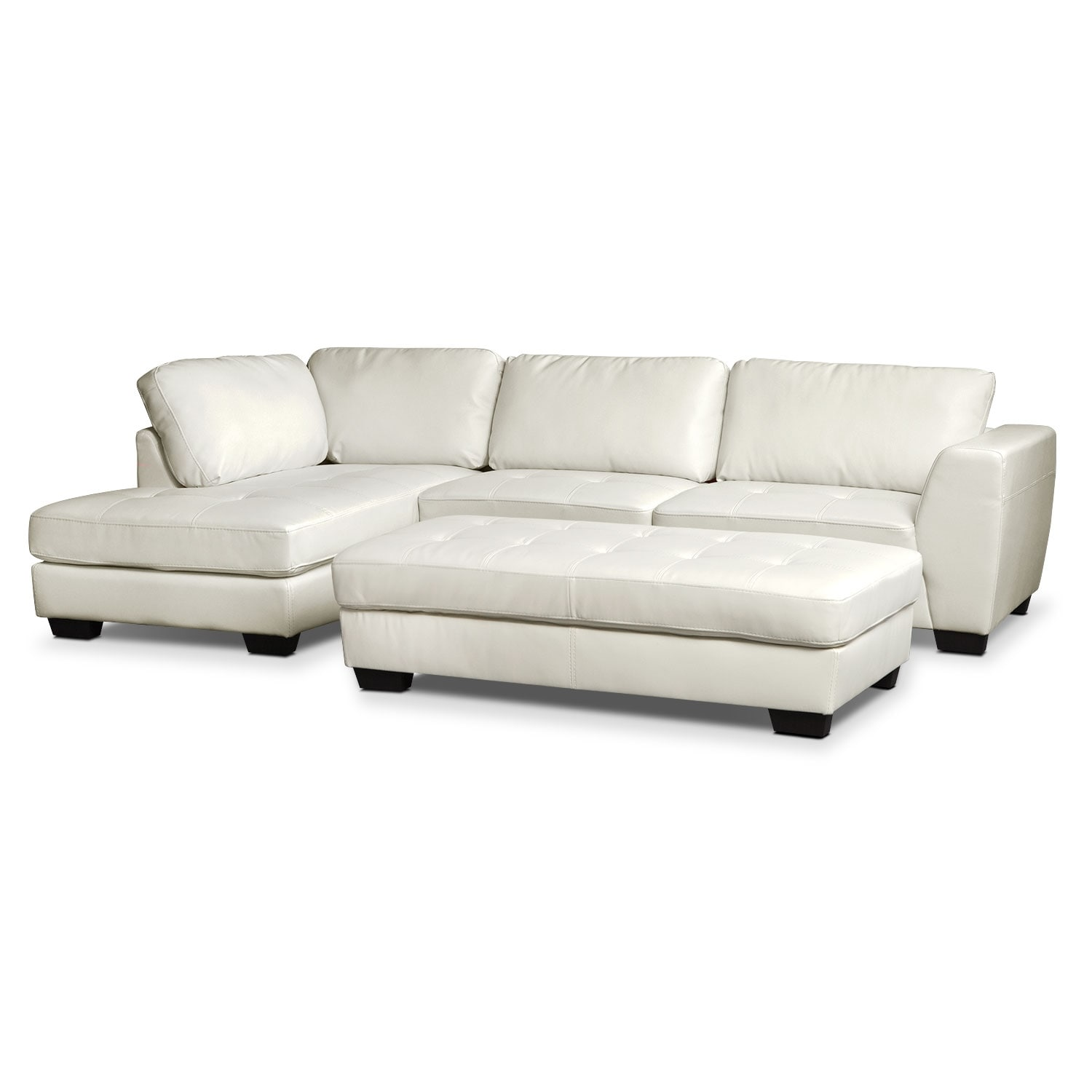 Ciera White 2-Piece Left-Facing Sectional and Cocktail Ottoman