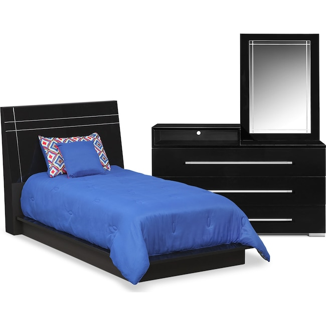 Kids Furniture - Dimora 5-Piece Twin Panel Bedroom Set with Media Dresser - Black