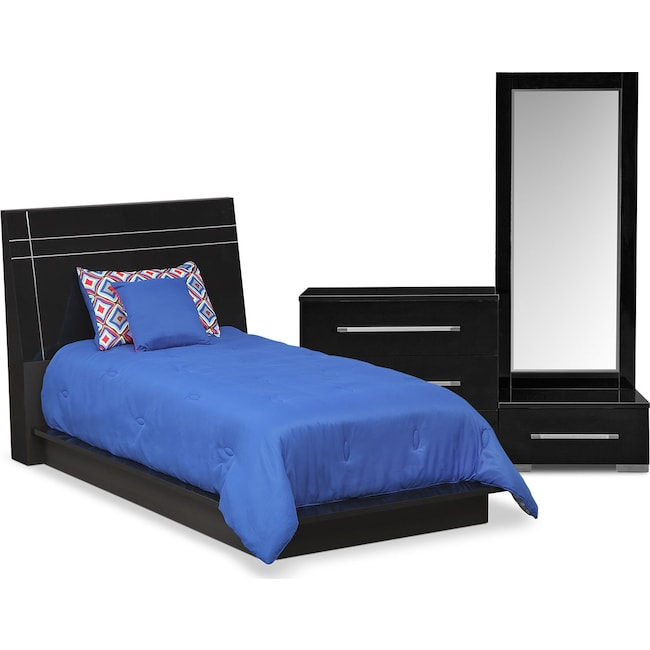 Bedroom Furniture - Dimora 5-Piece Twin Panel Bedroom Set - Black