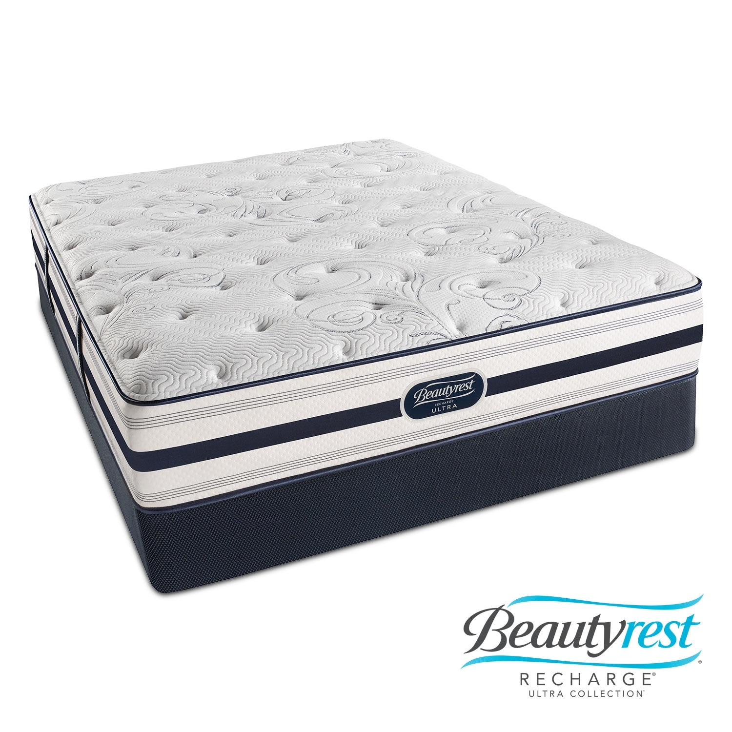 Mattresses and Bedding - Cerise Plush Queen Mattress and Split Foundation Set