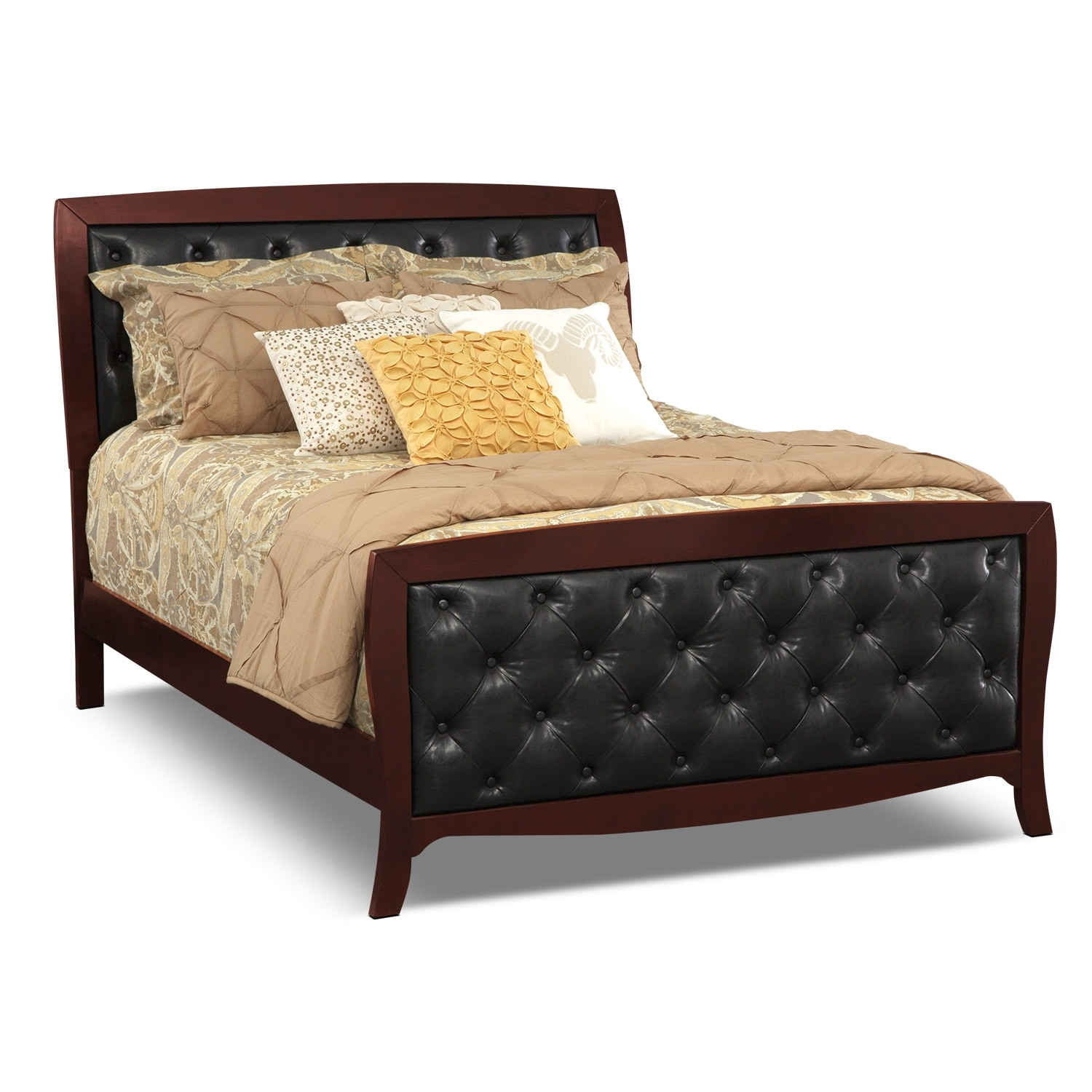 Bedroom Furniture - Jaden Queen Tufted Bed - Merlot