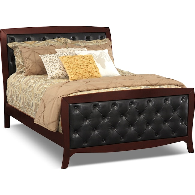 Jaden Queen Tufted Bed Merlot Value City Furniture and Mattresses