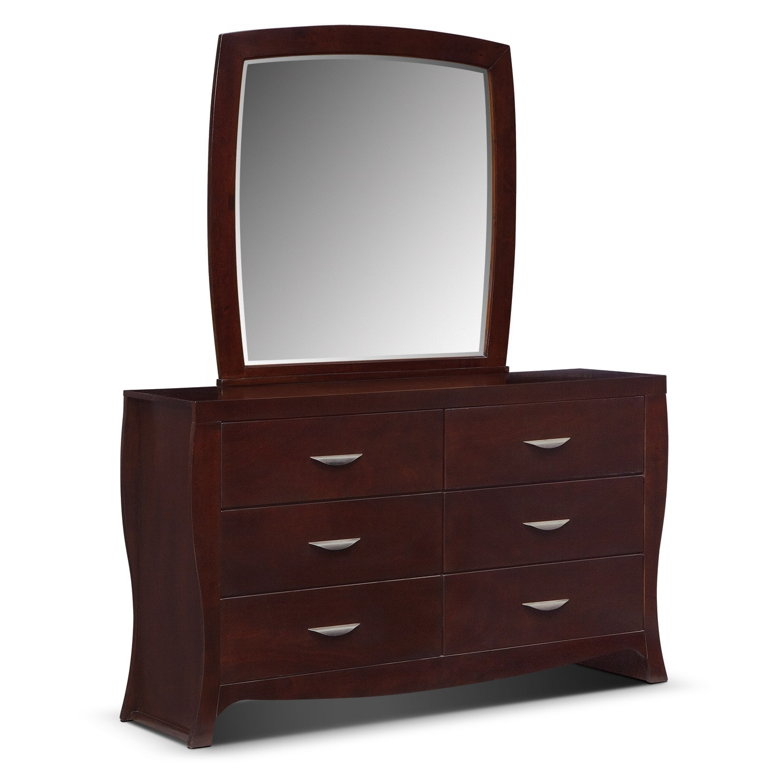 Bedroom Furniture - Jaden Dresser and Mirror - Merlot