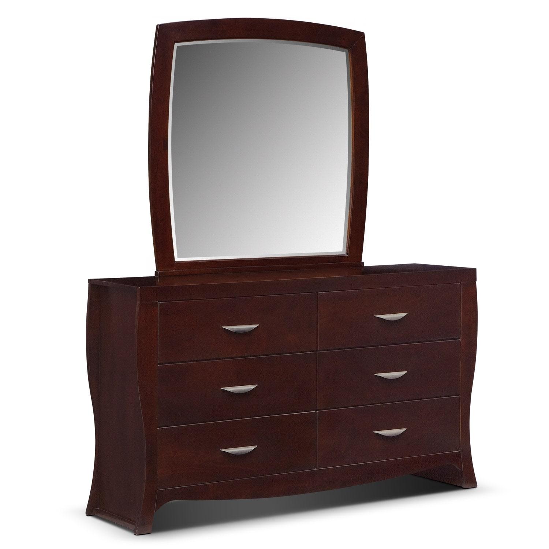City Furniture Clearance Center: Jaden Queen Upholstered Arch Bed - Merlot