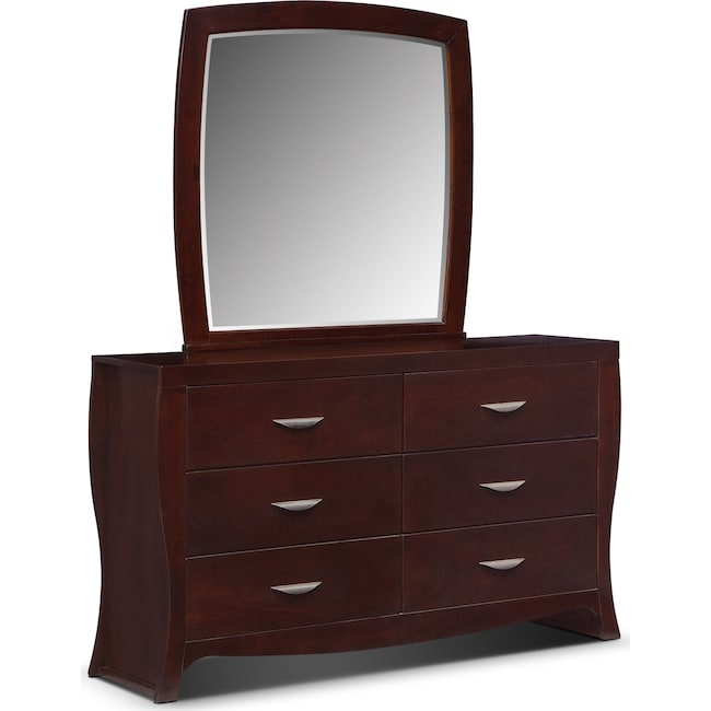 Kids Furniture - Jaden Dresser and Mirror - Merlot