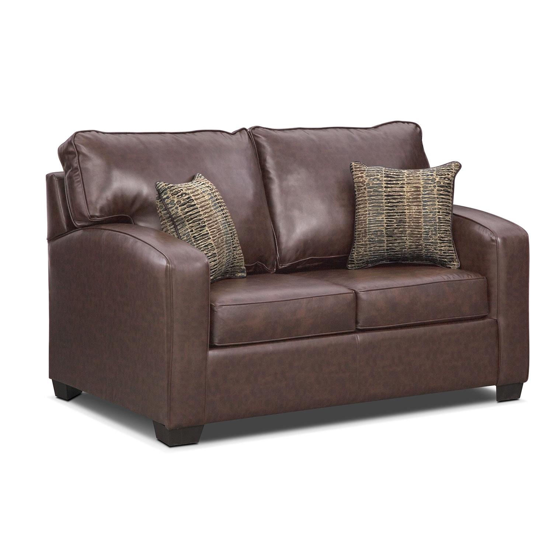 Living Room Furniture - Brookline Twin Innerspring Sleeper Sofa - Brown