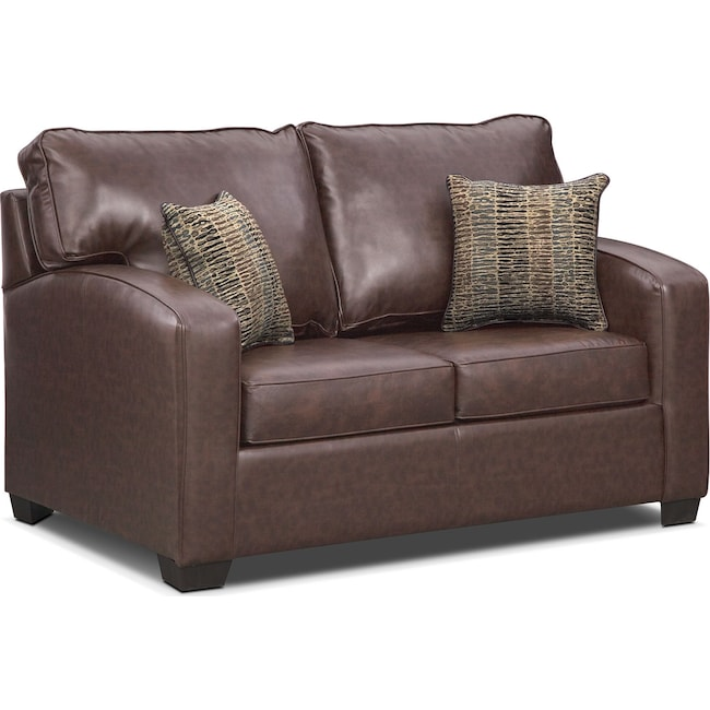 Living Room Furniture - Brookline Twin Innerspring Sleeper Sofa - Brown