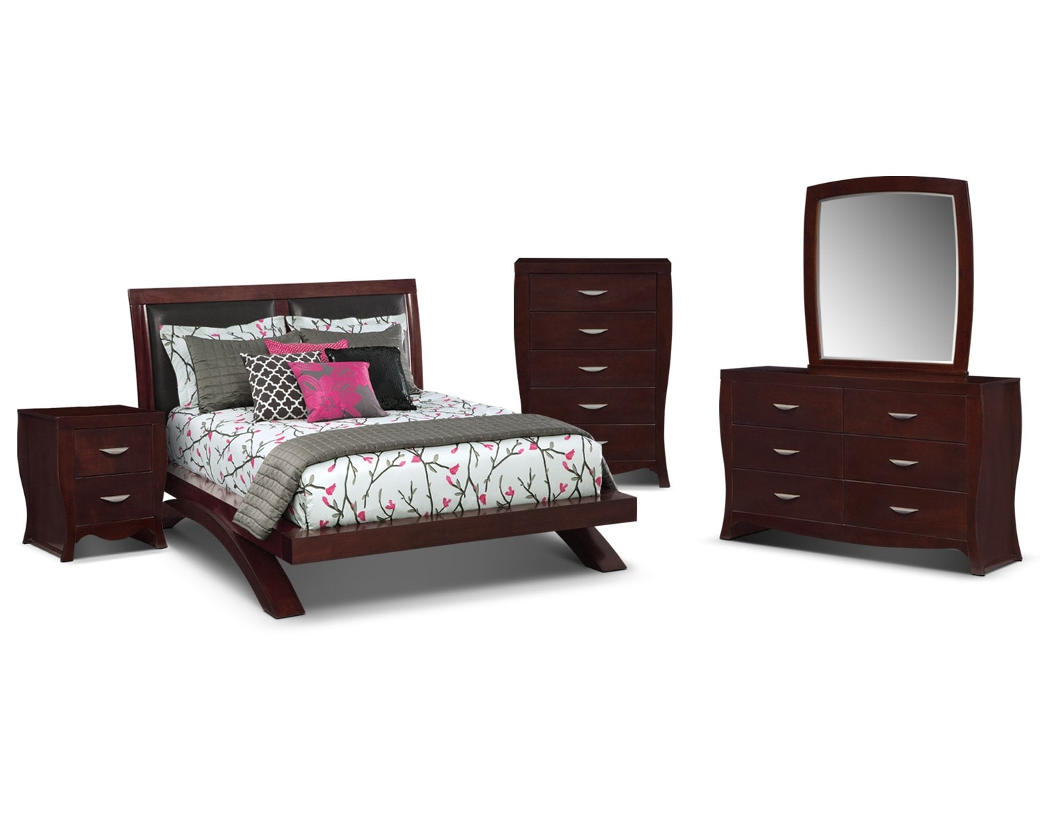 The Jaden Upholstered Arch Bedroom Collection - Merlot