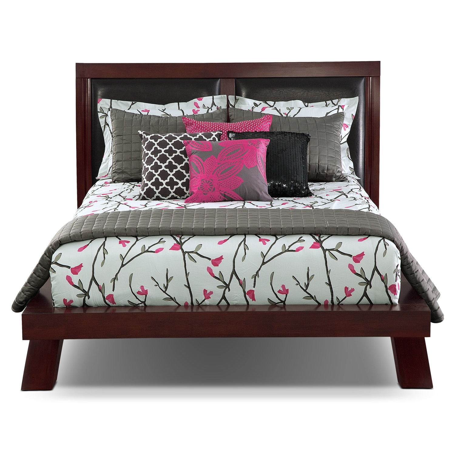 jaden queen upholstered arch bed merlot value city 17689 | 378665