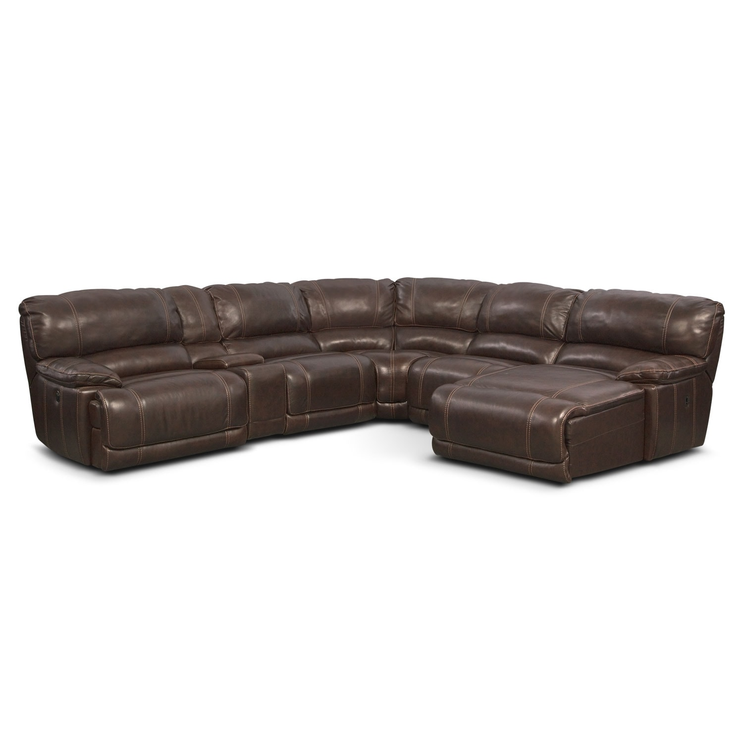 St. Malo 6-Piece Power Reclining Sectional with Right-Facing Chaise - Brown
