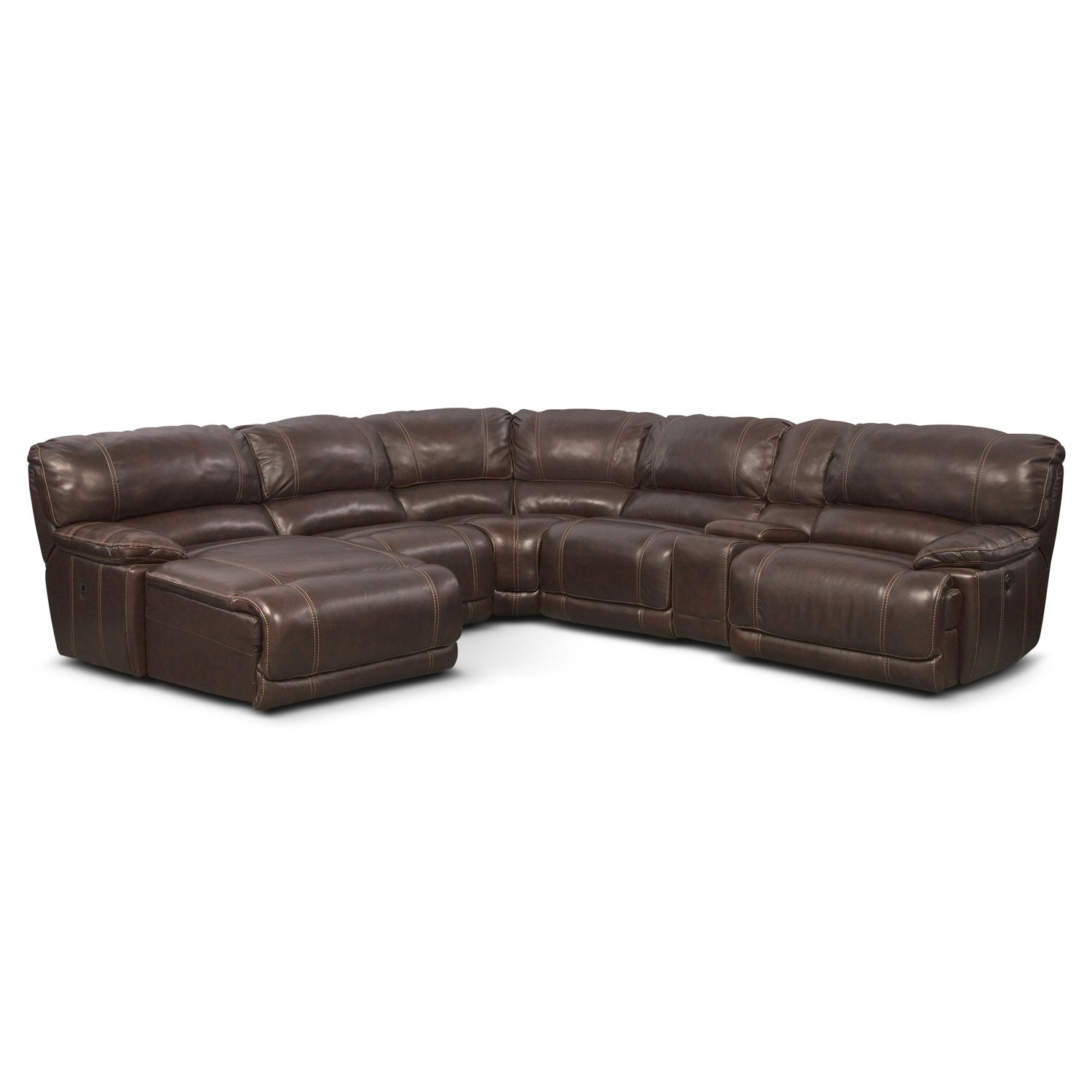 St. Malo 6-Piece Power Reclining Sectional with Left-Facing Chaise - Brown